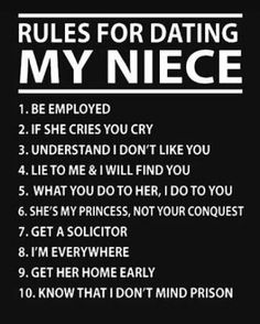 Rules for dating my niece my niece quotes, niece sayings, dating rules, dat Neices Quotes, Niece Quotes From Aunt, Auntie Quotes, Niece Sayings, Funny Aunt Quotes, Being An Aunt Quotes, Niece Poems, Best Aunt Quotes, Funny Memes