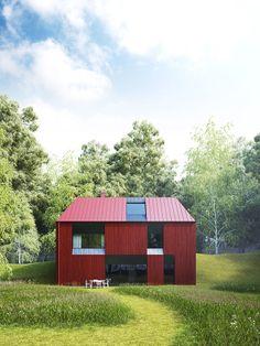 a little red house #decor #architecture #arquitetura #red #facade #fachadas