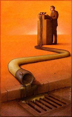 Wonderful satirical pieces by Polish artist Pawel Kuczynski.