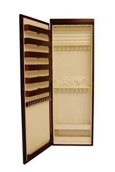 Chic Jewelry Organization  Over the Door Mirror Lighted Jewelry Armoire - Cherry  $165.95