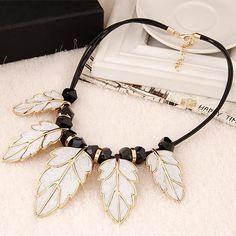 Golden Rim White Leaves Pendant Black Rope Costume Necklace