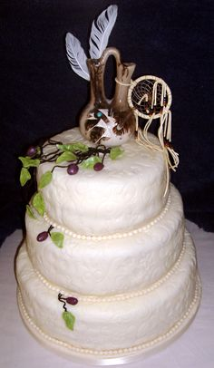 native american wedding cakes | Satcked Wedding Cake with Ribbon