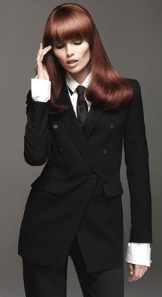 Love the style, long red hair and suits! SUIT UP, WOMAN!