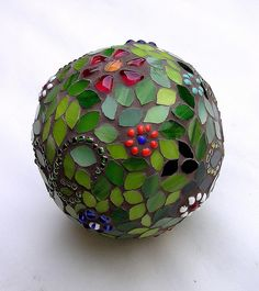 Flower garden sphere. Stained Glass and Bowling Ball