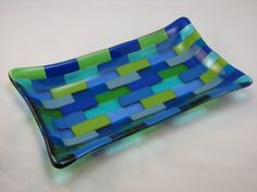 Green and Blue Rectangular Fused Glass Plate by DancingGlass