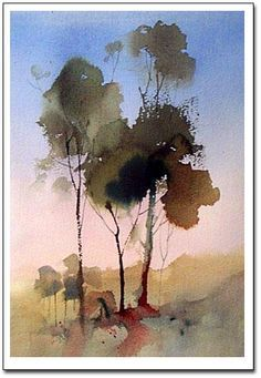 watercolor demonstration, painting trees