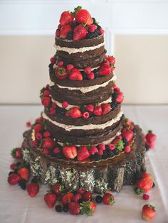 Naked Chocolate Wedding Cake With Fruit via Rockhill Studio & Joe's Cakes Fruit Wedding Cake, Wedding Cake Photos, Amazing Wedding Cakes, Wedding Cake Rustic, White Wedding Cakes, Wedding Cake Designs, Floral Wedding, Wedding Ideas, Chocolate Naked Cake