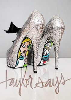 Alice and the White Rabbit look a little alarmed to find themselves on shoe soles  LOL!