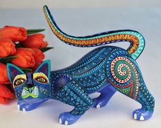 Oaxacan Wood Carving Wild Cat Mario Castellanos Oaxaca Mexican Fine Folk Art