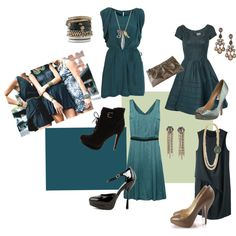 fashion: My love for teal in a set I created on polyvore.com