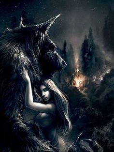 Werewolf and vampire Fantasy Creatures, Mythical Creatures, Dark Fantasy, Fantasy Art, Werewolf Art, Werewolf Games, Vampires And Werewolves, Big Bad Wolf, Wolf Spirit