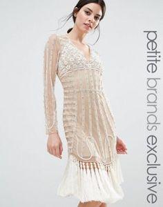 Maya Petite All Over Embellished Mesh Mini Dress With Heavy Tassel Hem