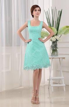 Informal A-line Sleeveless Zip up Lace Bridesmaid Dresses
