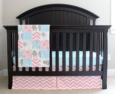 Custom Crib Bedding - Blue, Baby Pink and Grey Baby Girl Bedding