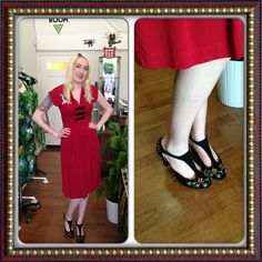 Miss L Fire manageress Marcella showing how to perfectly pair the Trashy Diva Dragon Lilian Dress with the Miss L Fire 'Orient' Heels!!! Both available in store and at misslfire.com!