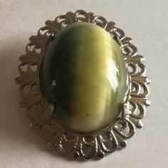 Green/Beige Brooch with Silver Tone Rim Brooch Dimensions +/- .  50 x 17 (mm) :  1.97 x 0.70 (inch) Brooch Weight +/- .  8 g :  0.28 ounces Gemstone Rings, Arts And Crafts, Brooch, Beige, Gemstones, Jewellery, Green, Silver, Jewels