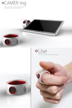 Ring camera: Use the camera by inserting a finger.
