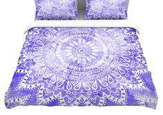 88 x 88 Kess InHouse Nika Martinez Blue Mina Mandala Navy Green Geometric Queen Featherweight Duvet Cover