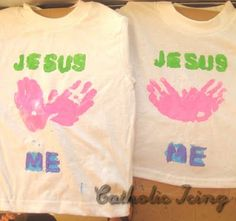 """Easy """"Jesus Loves Me"""" shirts with handprint hearts for """"Love"""". Would be great for Vacation Bible School Shirts."""