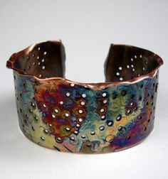 Cuff | Deb ~ FebraRose. Hammered Copper, Fold-Formed, Perforated and Rustic, With an Earthy Heat Patina