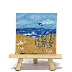 """'Carolina Beach' summer beach scene in acrylics on miniature canvas with wooden display easel. Original acrylic painting of a peaceful summertime beach scene done in contemporary style on 3"""" x 3"""" stretched quality canvas, comes with a wooden display easel. Small enough to tuck in anywhere and brighten up your day with whimsy and color."""