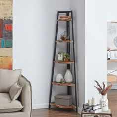 Danya B. Free-Standing Industrial Corner Shelf in