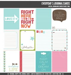 Everyday 3 Digital Journal Cards - 3x4 project life inspired printable scrapbooking journaling note cards  - instant download - CU OK