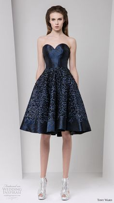 tony ward fall winter 2016 2017 rtw strapless sweetheart mini dress deep blue color
