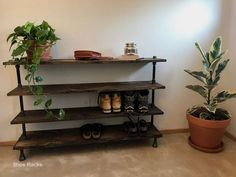 Diy Shoe Rack Design Ideas Entryway Furniture, Pipe Furniture, Entryway Decor, Entryway Bench, Entryway Ideas, Furniture Design, Hallway Ideas, Furniture Storage, Best Shoe Rack