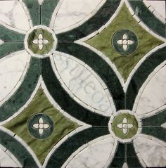 Jet Stone Corporation  Unique Shapes Series, Medallion, Carrara White, Apple Green, Empress Green, Polished, Green, Stone