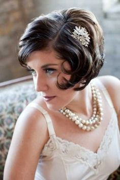 Short hair with vintage rhinestone clip