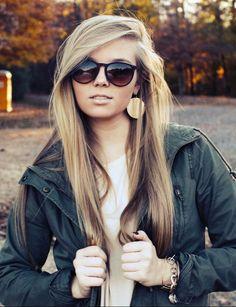 Hair color blonde on top brown underneath