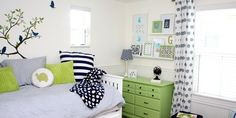 green graphic kids room