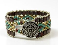 SUPERDUO CZECHMATES TILE Cuff by CinfulBeadCreations on Etsy