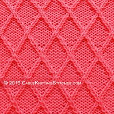 By using left and right twist stitches alongside knit and purl you too can create this Diamond Lattice stitch. Cable Knitting Patterns, Knitting Stiches, Loom Knitting, Crochet Stitches, Knit Crochet, Crochet Patterns, Free Knitting, Making Ideas, Stitch Patterns