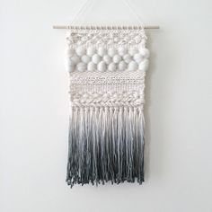Woven Wall Hanging  Dip-Dyed Gray by UnrulyEdges on Etsy