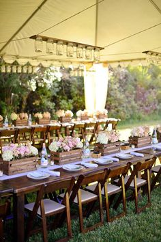Really like the wood crates/mason jars/milk bottles/etc 10 Country Chic and Rustic Wedding Tablescapes - Wooden Crates as Centerpieces Chic Wedding, Wedding Table, Wedding Reception, Rustic Wedding, Our Wedding, Dream Wedding, Reception Ideas, Wedding Picnic, Tent Wedding