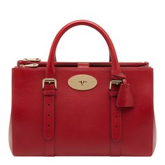 cb96fa167a38 Red Goat Leather Bayswater Double Zip Tote Bag - Mulberry - Private sales |  BrandAlley Mulberry