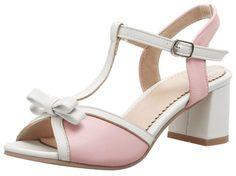 e9c62a373dbb Mofri Womens Sweet Bowknot Peep Toe Sandals Buckle TStrap Contrast Color  Block Medium Heels Shoes Pink