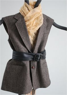 Womens upcycled wool tweed vest - one of a kind. $30.00, via Etsy.