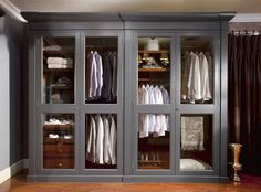Our paints are used in many different interior projects, this wardrobe is hand painted in our classic mercury grey and looks like… Dressing Room Closet, Closet Bedroom, Closet Space, Dressing Rooms, Pax Closet, Master Closet, Trouser Hangers, Door Furniture, Gray Furniture