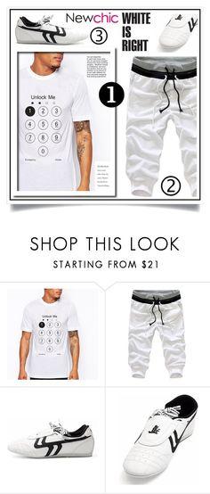 """Newchic - White is right XII/5"" by ewa-naukowicz-wojcik ❤ liked on Polyvore featuring men's fashion and menswear"