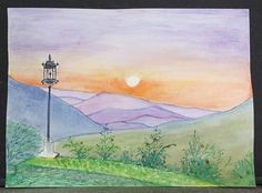 Watercolour painting Sunset.