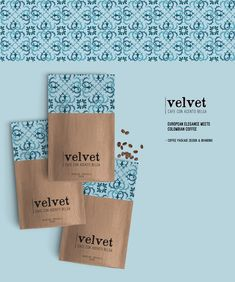 Coffee Bag Packaging Design and branding for Café Velvet.Café Velvet is a cafe with stores in Medellín, Colombia & Brussels, Belgium. Pouch Packaging, Coffee Packaging, Coffee Branding, Brand Packaging, Coffee Labels, Rice Packaging, Form Design, Tea Design, Coffee Design