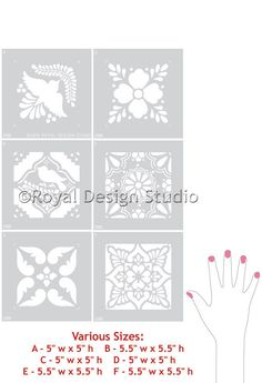 DIY mexicana Talavera Azulejos Muebles Plantillas - Royal Design Studio