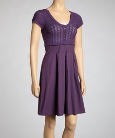 Purple Scoop Neck Button Dress #zulily #zulilyfinds