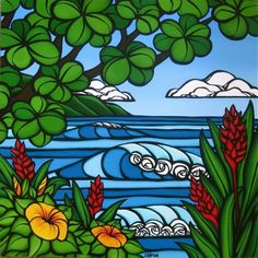 Tropical Paradise - Peer through the trees hile hiking along the Na Pali Coast on the north end of Kauai by Hawaii surf artist Heather Brown Heather Brown Art, Ginger Flower, I Need Vitamin Sea, Art Mat, Hawaiian Art, Hawaiian Decor, Tropical Flowers, Hibiscus Flowers, Tropical Art
