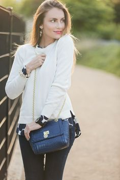 Navy and white/cream look, so perfect for spring! #HelloGorgeous
