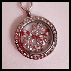 Origami Owl Living Locket - Medium silver locket with crystals, silver ball station chain, and six charms.  Just in time for the holidays!