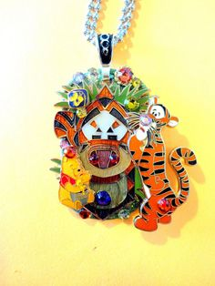 Winnie The Pooh And Tigger Too Dog Tag Pendant by BradosBling, $34.99